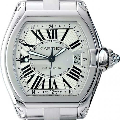 CARTIER Roadster XL GMT Automatic 남성용스틸 100m 41.5mm W62032X6
