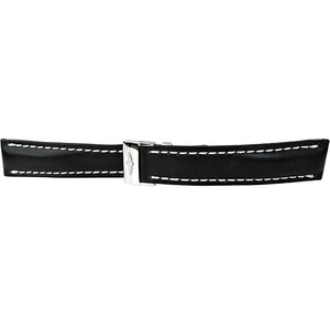 BREITLING Black Leather Strap 20/18mm + Deployment Buckle 429X