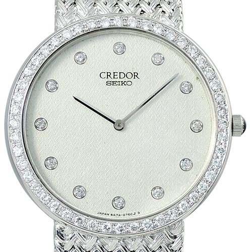 SEIKO CREDOR K18WG Diamonds Quartz 남여공용 31mm 5A74-0460