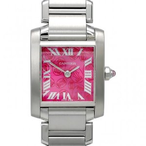 CARTIER Tank Francaise Limited Edition Steel Raspberry Quartz 여성용 스틸 20mm W51030Q3