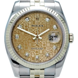 ROLEX Oyster Perpetual DateJust 18K콤비 남성용 노란컴퓨터판36mm 116233G