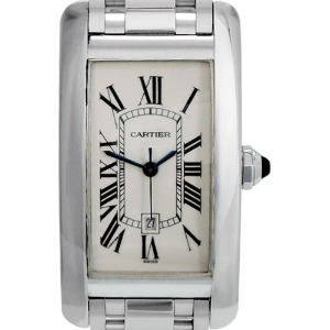 CARTIER Tank Americaine Medium 18K White Gold 여성용 기계식자동 22mm 2490 (장농급)