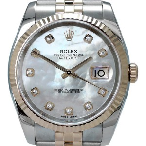 ROLEX Oyster Perpetual DateJust 18K Rose Gold 콤비자개판 남성용 기계식자동 36mm 116231NG