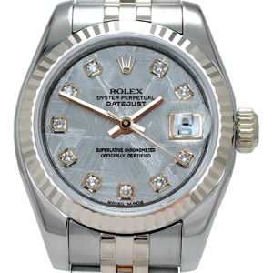ROLEX Oyster Perpetual Date Just 18K Pink Gold 콤비 여성용26mm 179171MG운석판